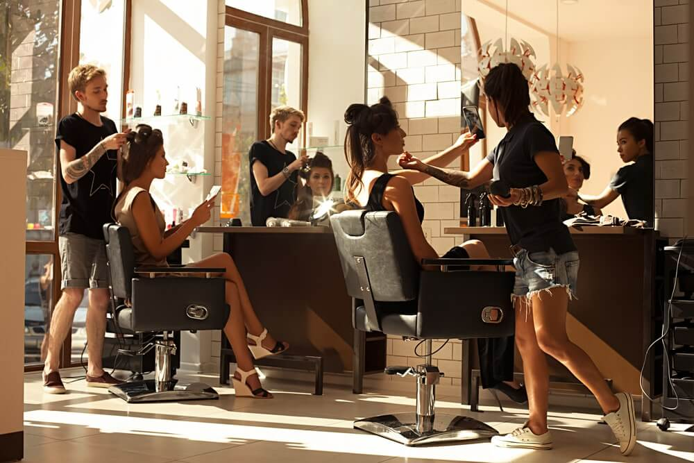 A busy hair salon